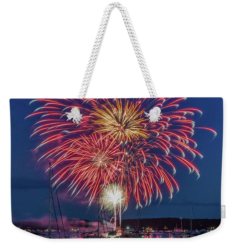 Maine Weekender Tote Bag featuring the photograph Independence Day Fireworks In Boothbay Harbor by Jesse MacDonald