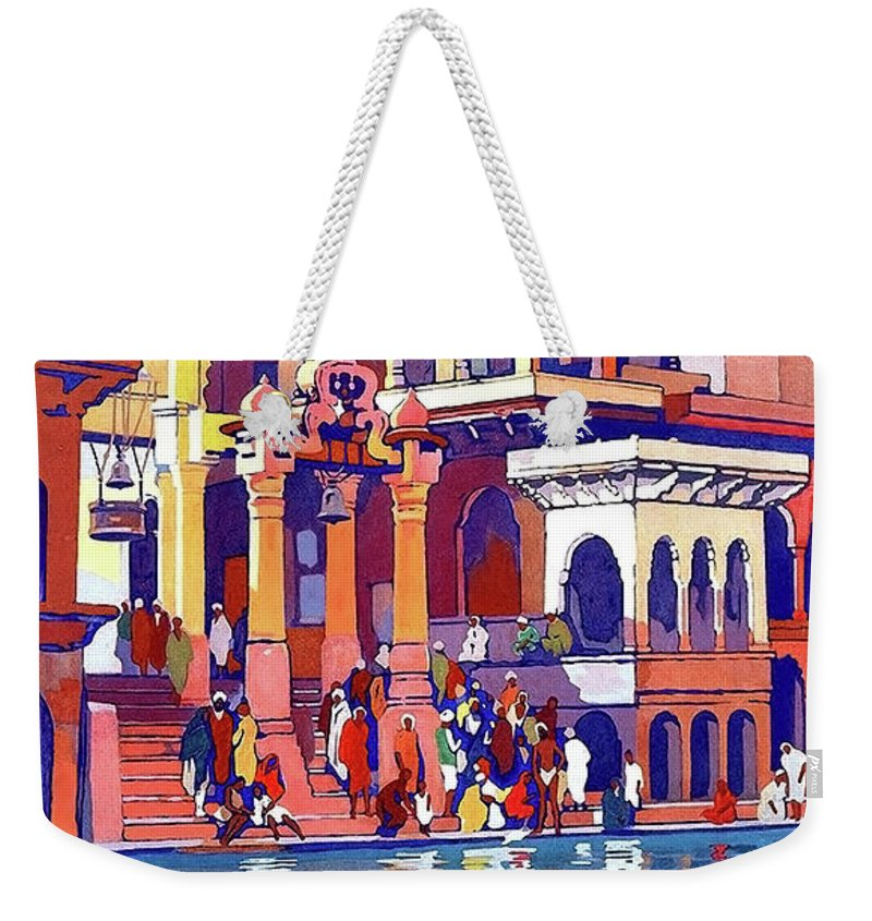 India Weekender Tote Bag featuring the painting India, Indian State Railway Poster, Muttra by Long Shot