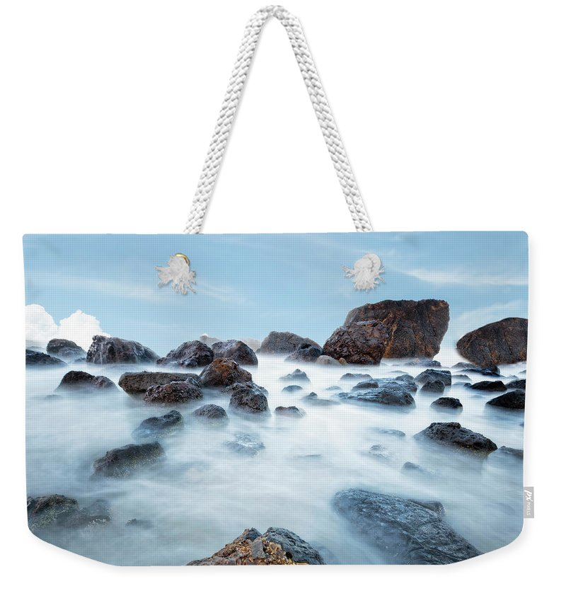 Oregon Weekender Tote Bag featuring the photograph Indian Beach At Ecola State Park, Oregon by Kay Brewer