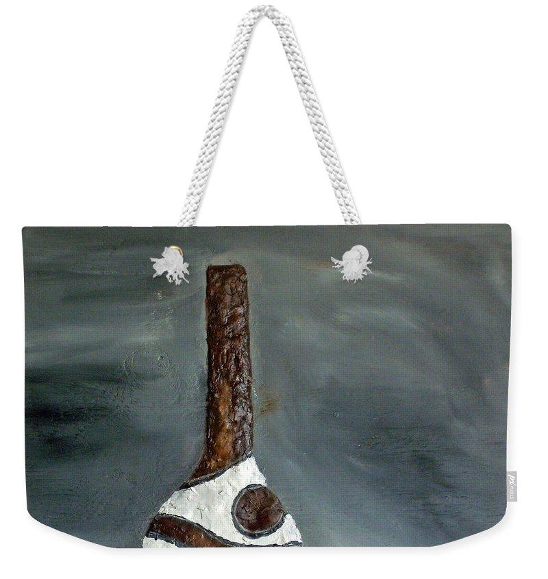 Still Life Paintings Weekender Tote Bag featuring the painting Indian Bottle by Leslye Miller