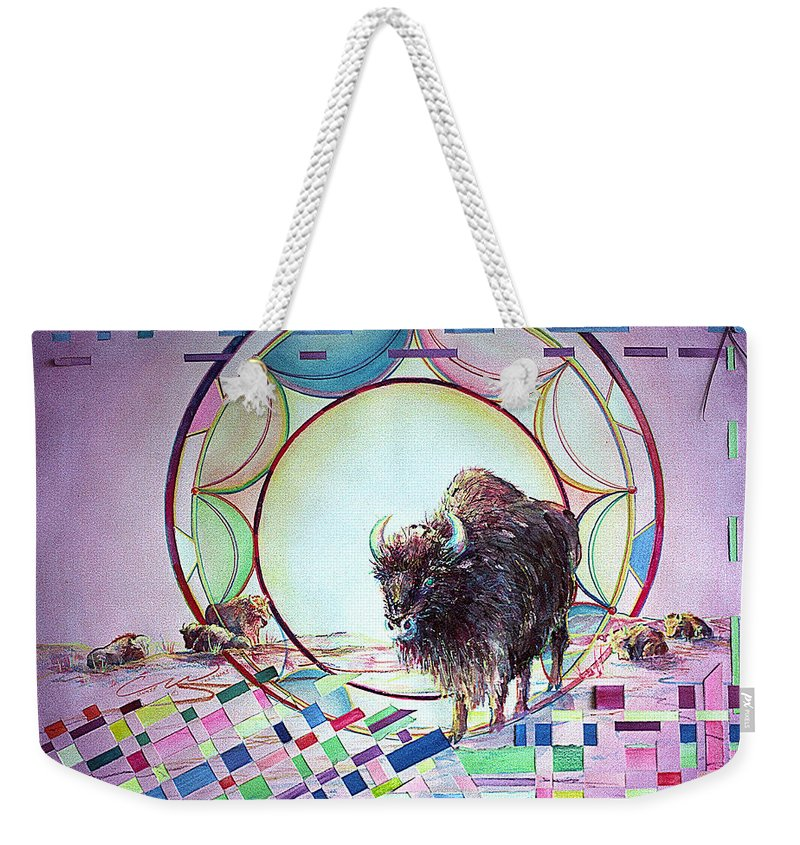 Native American Weekender Tote Bag featuring the painting Indian Buffalo Circle by Connie Williams
