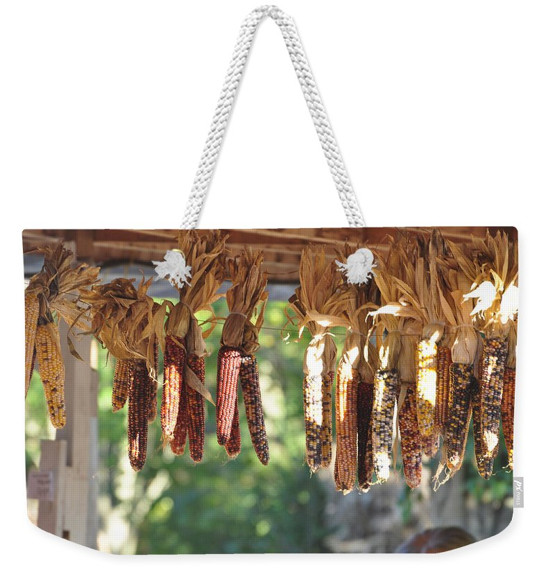 Indian Corn Weekender Tote Bag featuring the photograph Indian Corn by Jan Amiss Photography