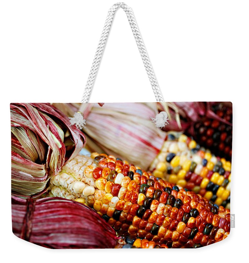 Corn Weekender Tote Bag featuring the photograph Indian Corn by Marilyn Hunt