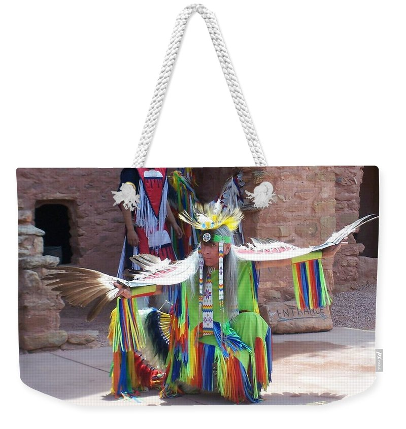 Indian Dancer Weekender Tote Bag featuring the photograph Indian Dancer by Anita Burgermeister