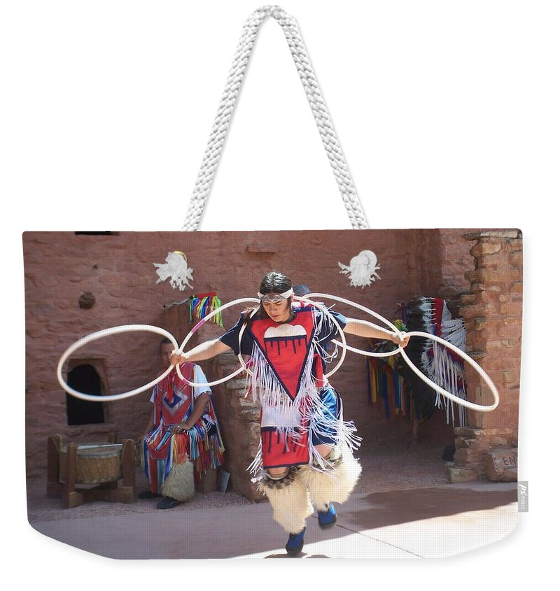 Indian Dancer Weekender Tote Bag featuring the photograph Indian Hoop Dancer by Anita Burgermeister