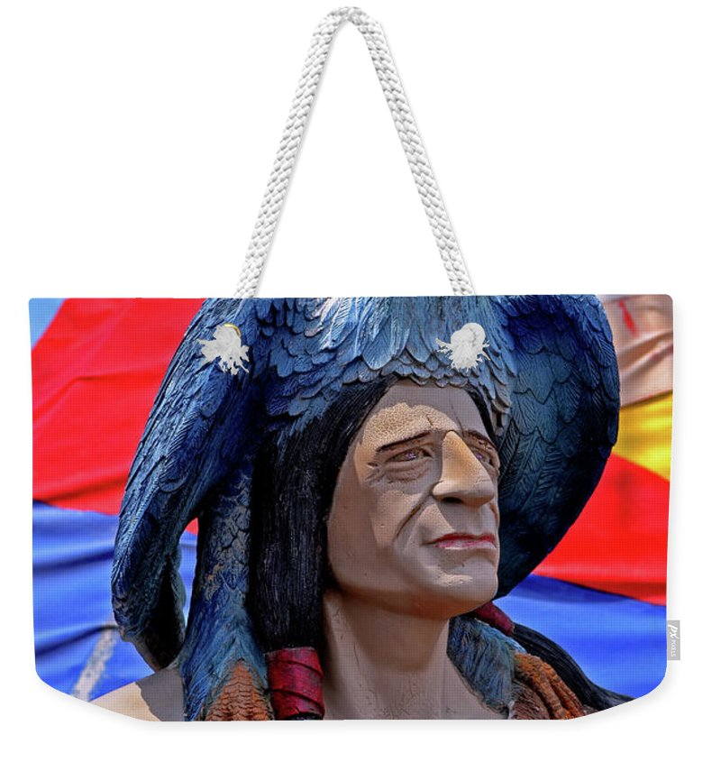 Statue Weekender Tote Bag featuring the photograph Indian Leader 001 by George Bostian
