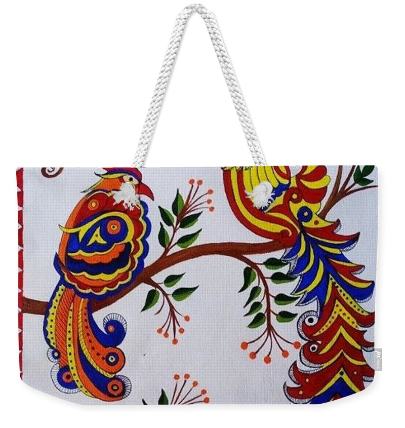 cb20089bad Indian Madhubani Painting Colorful Birds Weekender Tote Bag for Sale by  Dhanashree Mahesh