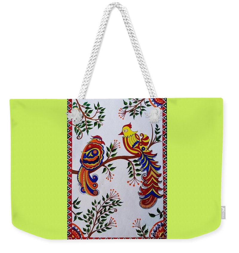 cb20089bad Indian Madhubani Painting Colorful Birds Weekender Tote Bag for Sale by  Dhanashree Mahesh