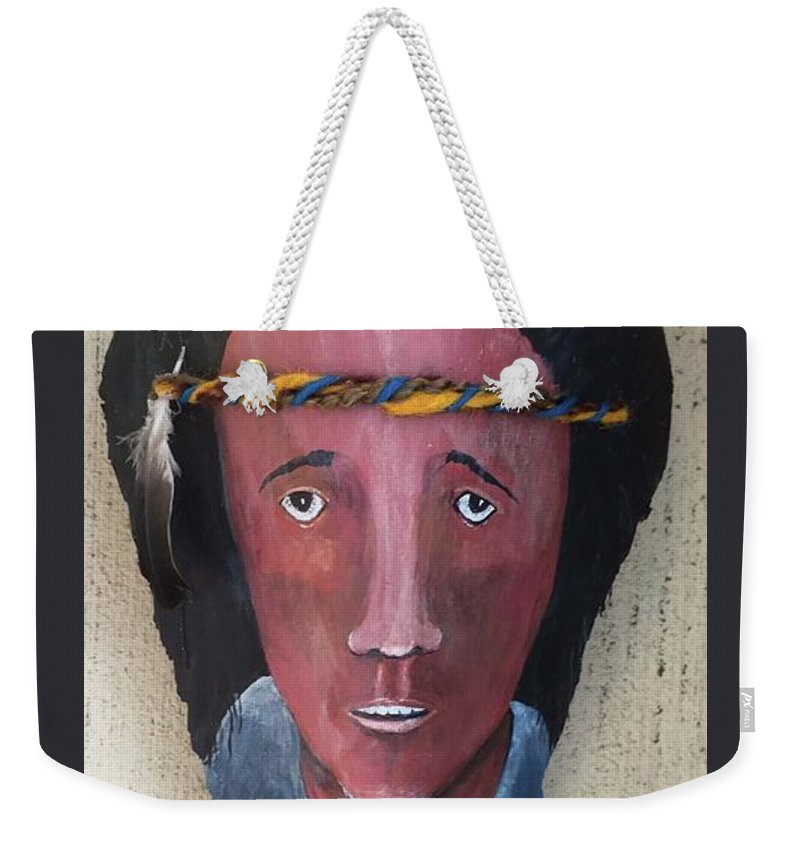 Indian Weekender Tote Bag featuring the relief Indian On Palm 2 by Christine Lathrop