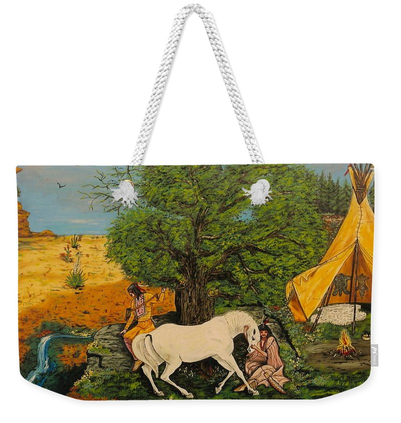 Horses Weekender Tote Bag featuring the painting Indian Romance by V Boge