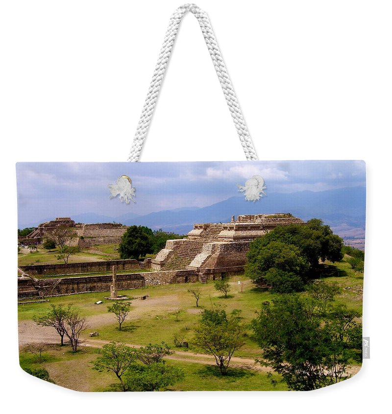 Monte Alban Weekender Tote Bag featuring the photograph Indian Ruins by Michael Peychich
