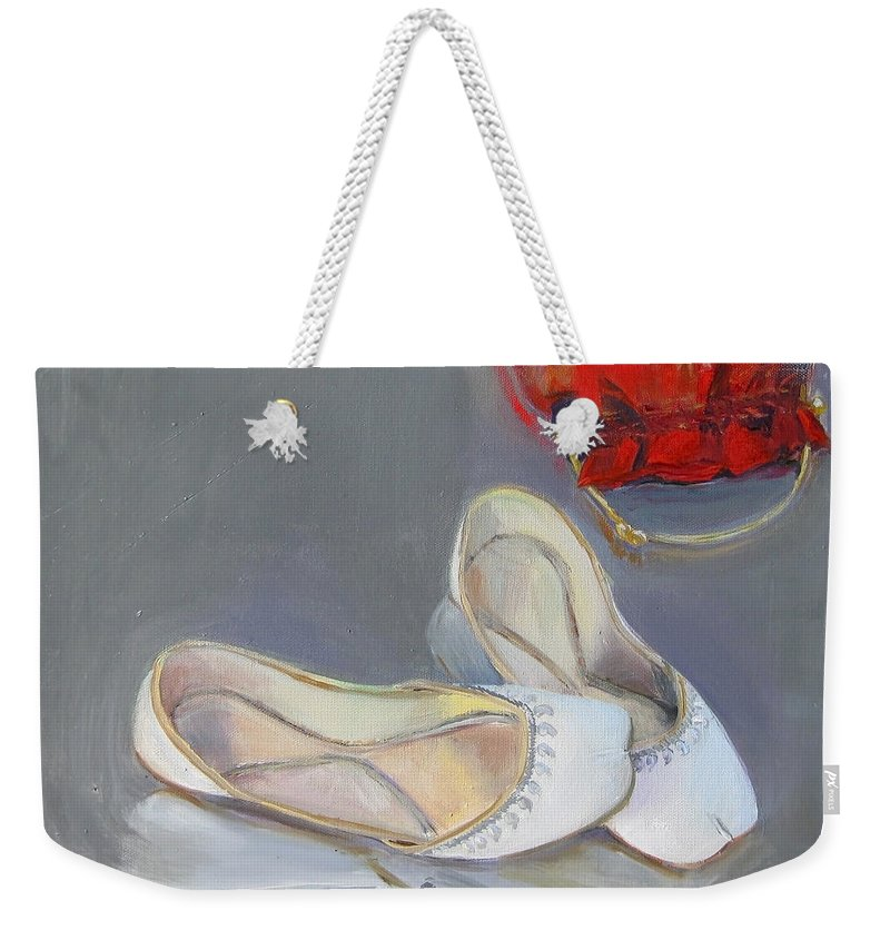 White Weekender Tote Bag featuring the painting White Shoes by Mohita Bhatnagar