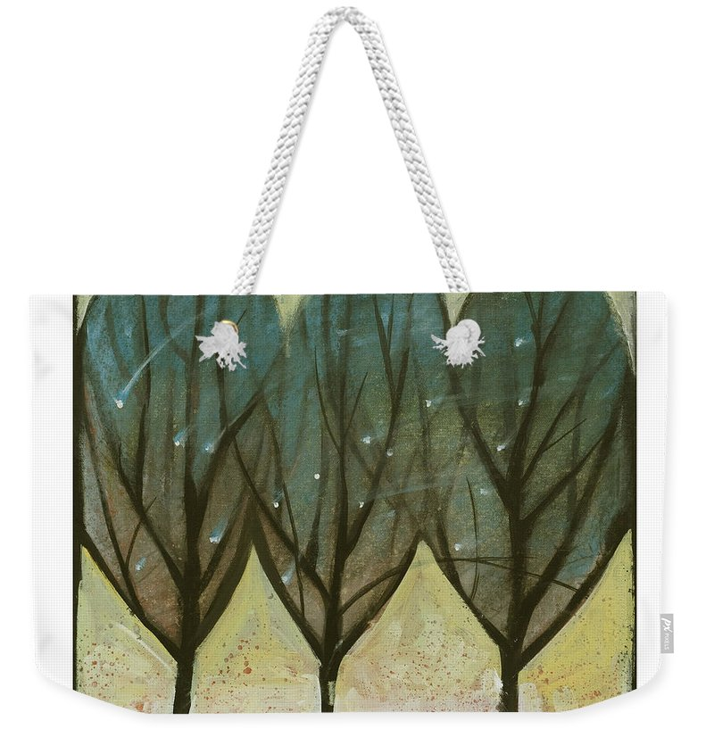 Trees Weekender Tote Bag featuring the painting Indian Summer Snow by Tim Nyberg