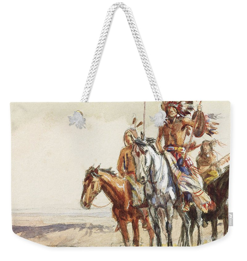 Indian War Party Weekender Tote Bag featuring the painting Indian War Party by Charles Marion Russell