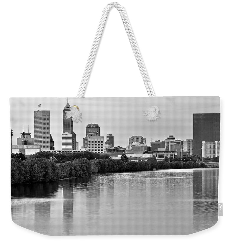 Indianapolis Weekender Tote Bag featuring the photograph Indianapolis Charcoal Panoramic by Frozen in Time Fine Art Photography