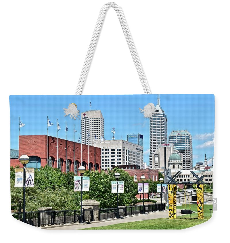 Indianapolis Weekender Tote Bag featuring the photograph Indianapolis From The Park by Frozen in Time Fine Art Photography