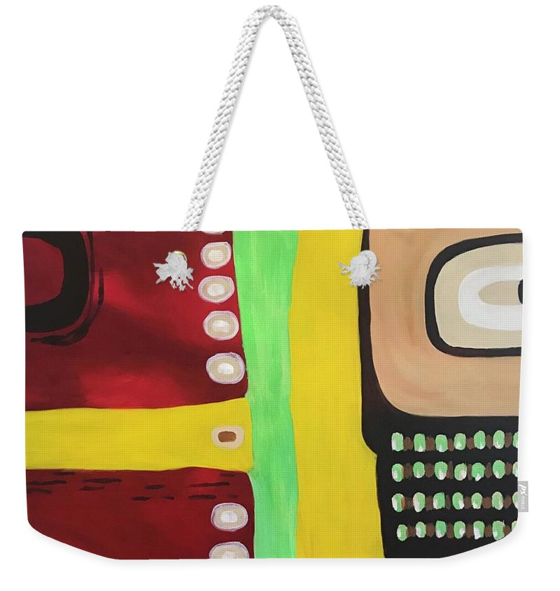 Abstract Weekender Tote Bag featuring the painting Indiginous by Mimi Mix