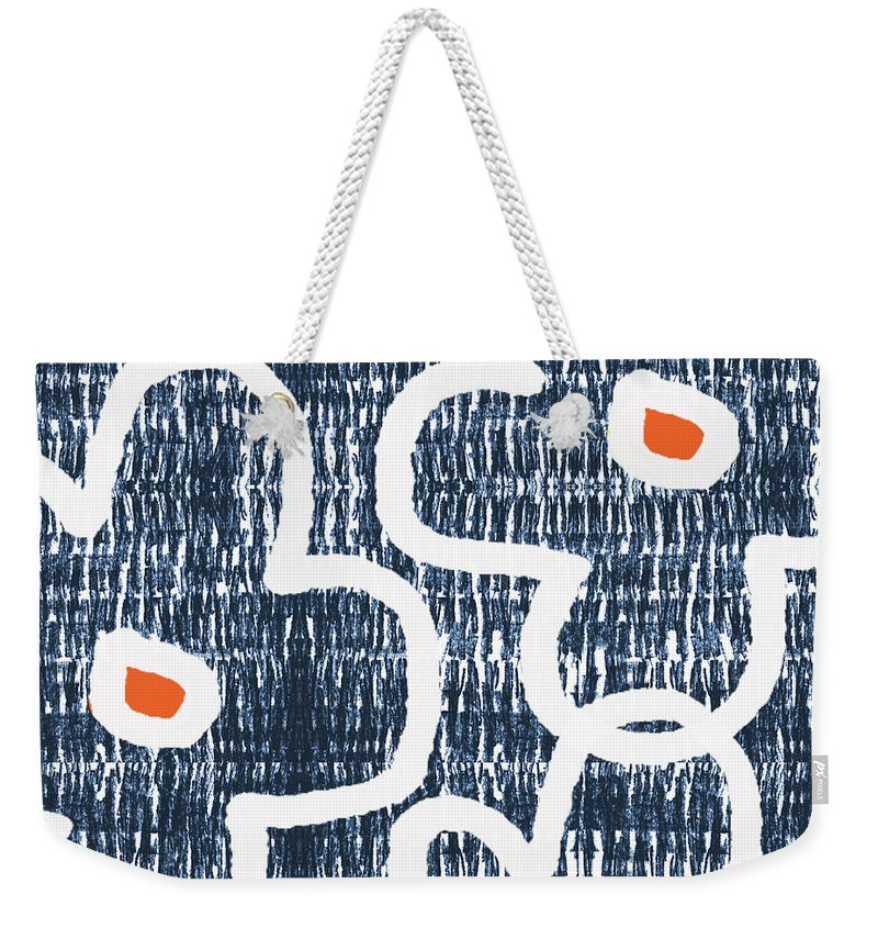 Indigo Weekender Tote Bag featuring the mixed media Indigo And White Jumbo Flowers- Art By Linda Woods by Linda Woods