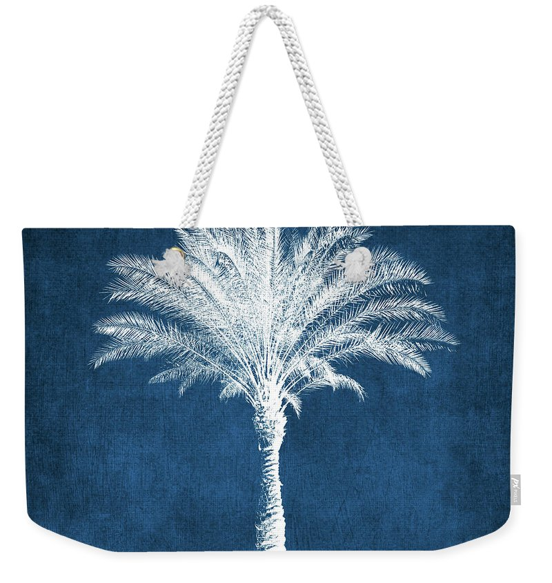 Palm Tree Weekender Tote Bag featuring the mixed media Indigo and White Palm Tree- Art by Linda Woods by Linda Woods
