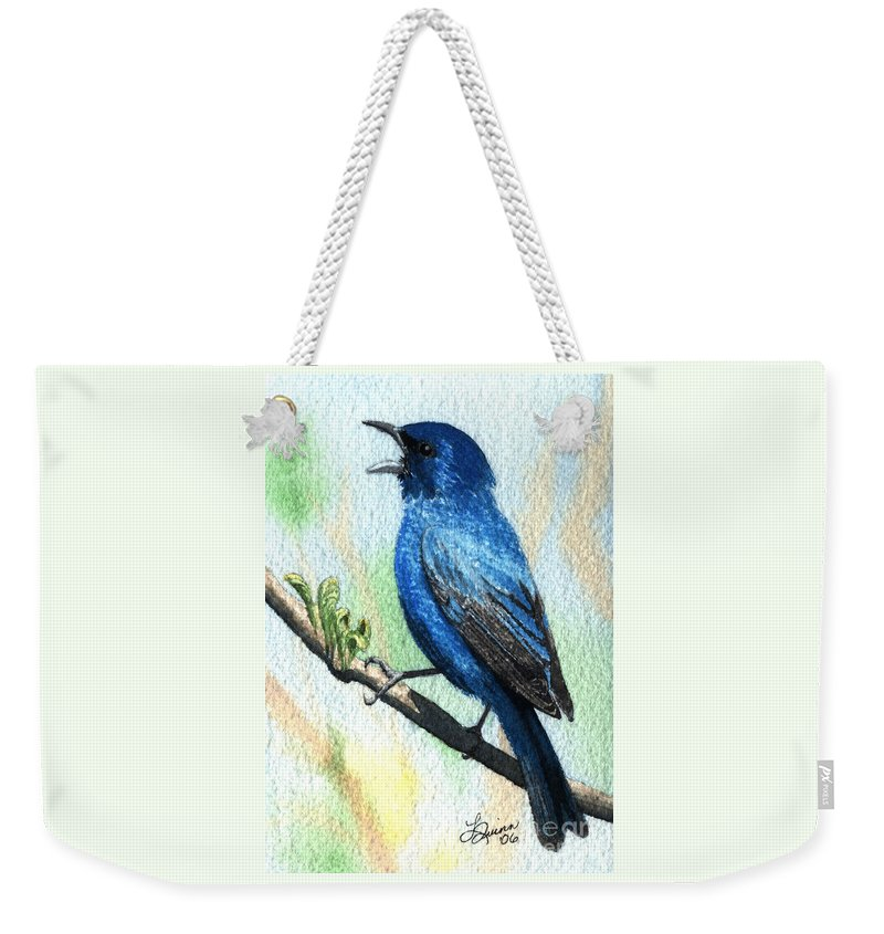 Bird Weekender Tote Bag featuring the painting Indigo Bunting by Lynn Quinn