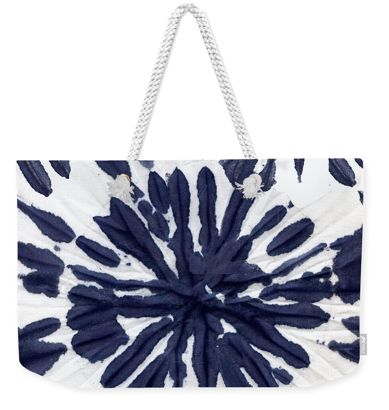 Tie Dye Weekender Tote Bag featuring the painting Indigo I by Mindy Sommers