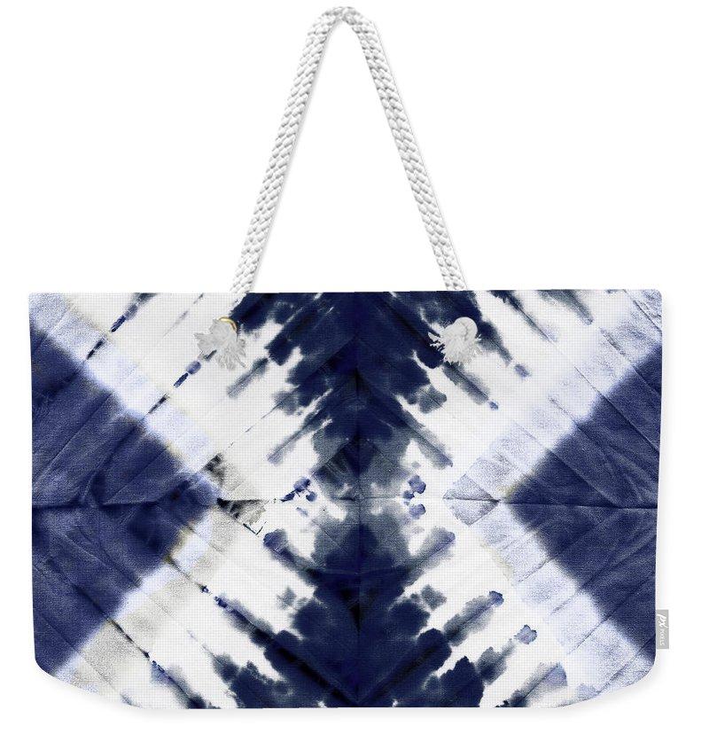Tie Dye Weekender Tote Bag featuring the painting Indigo II by Mindy Sommers