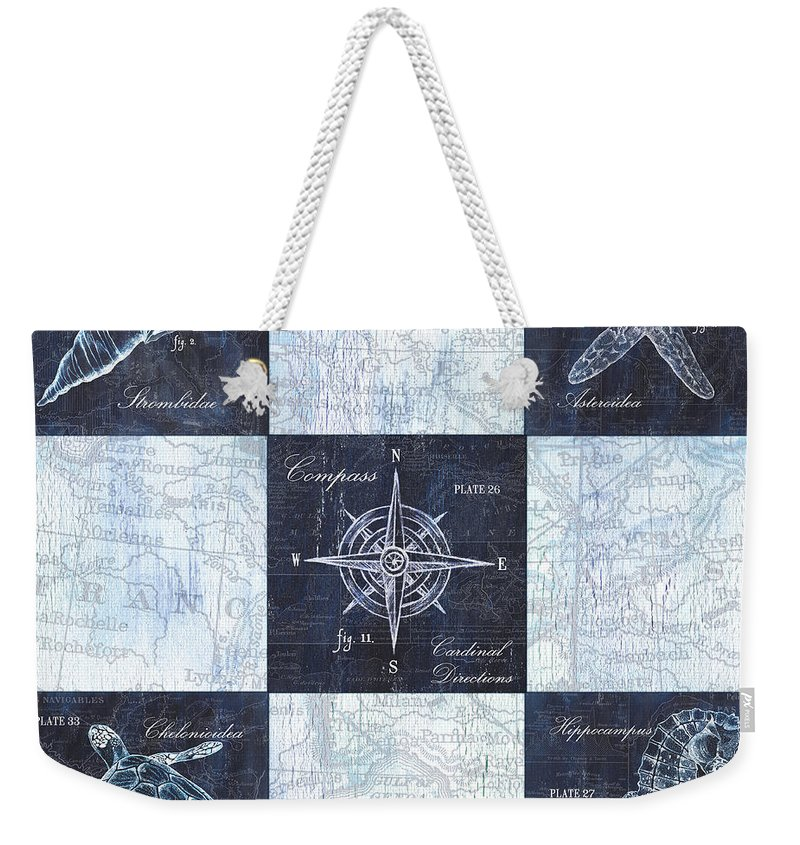 Seahorse Weekender Tote Bag featuring the painting Indigo Nautical Collage by Debbie DeWitt
