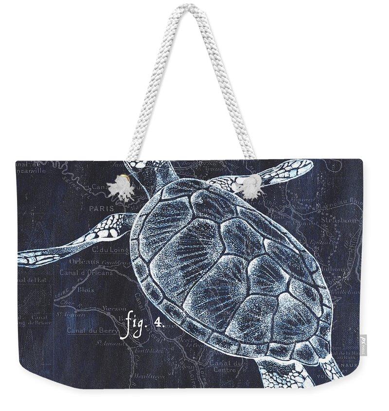 Turtle Weekender Tote Bag featuring the painting Indigo Verde Mar 2 by Debbie DeWitt
