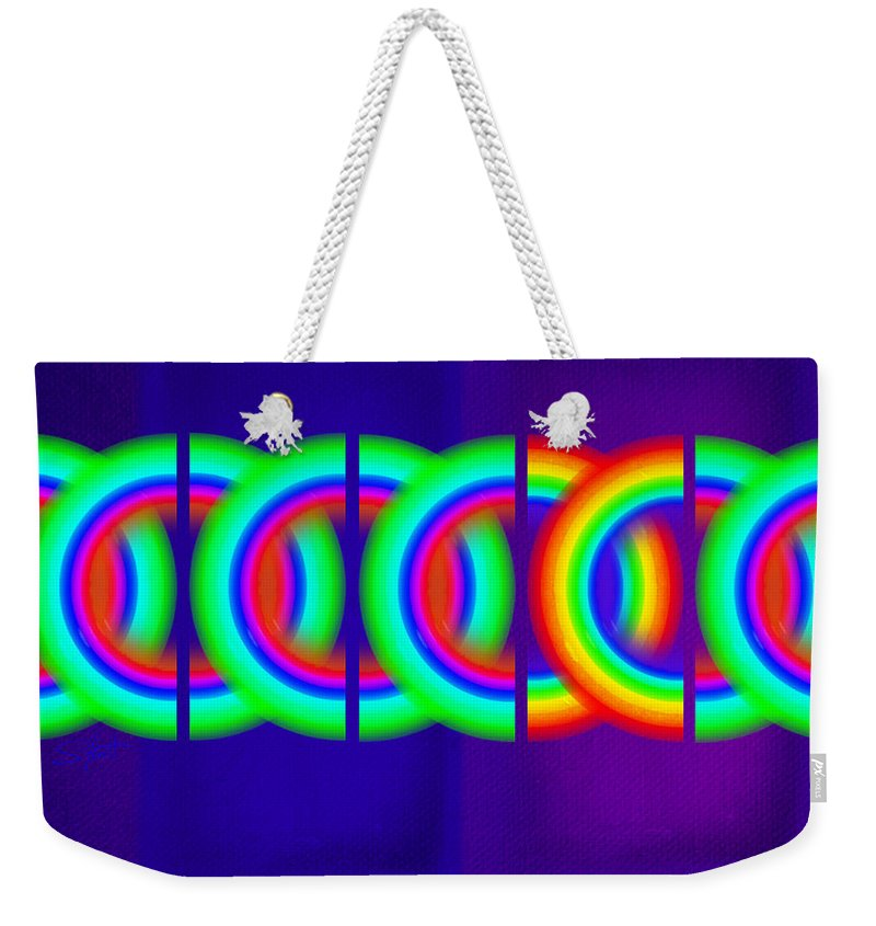 Abstract Weekender Tote Bag featuring the painting Indigo Violet by Charles Stuart