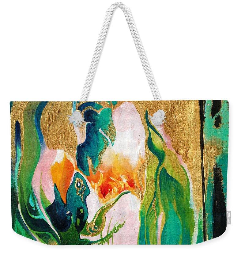 Lin Petershagen Weekender Tote Bag featuring the painting Indigold by Lin Petershagen