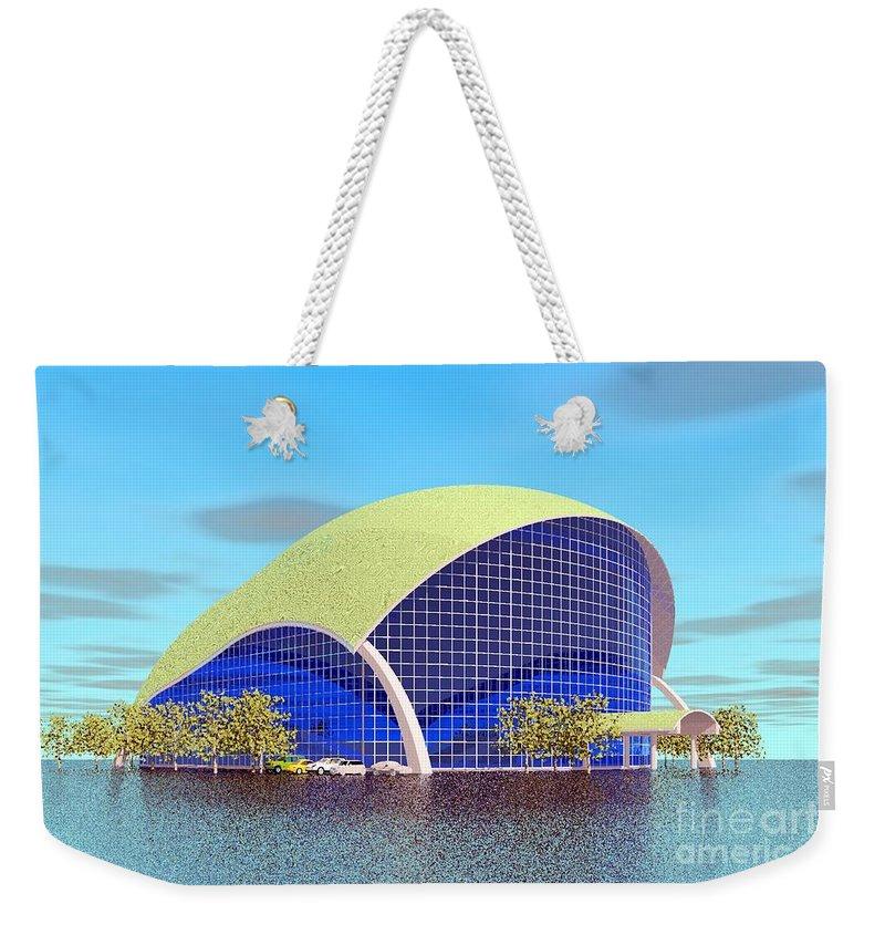 Bulding Rendering Weekender Tote Bag featuring the digital art Indoor Tennis by Ron Bissett