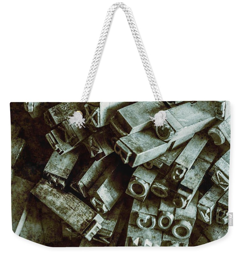 Old Weekender Tote Bag featuring the photograph Industrial Letterpress Typeset by Jorgo Photography - Wall Art Gallery