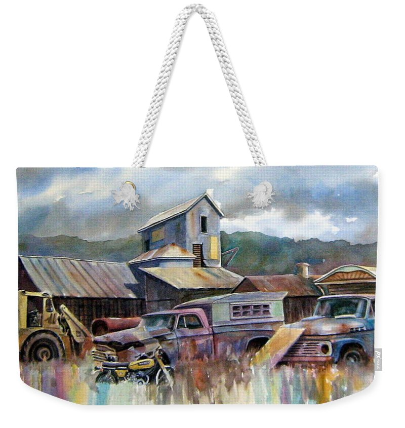 Trucks Weekender Tote Bag featuring the painting Industrial Recreation Park by Ron Morrison