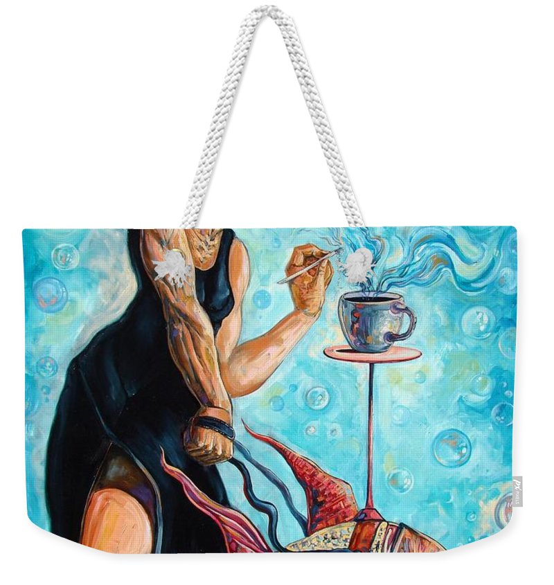 Surrealism Weekender Tote Bag featuring the painting Infamous Pets by Darwin Leon