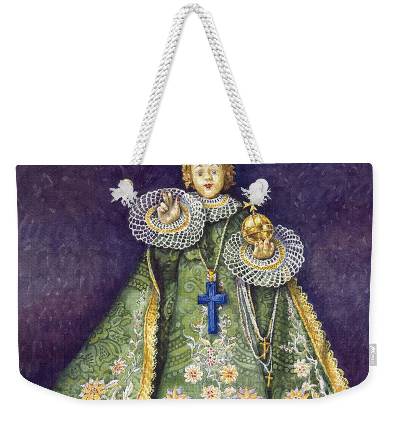 Watercolour Weekender Tote Bag featuring the painting Infant Jesus of Prague by Yuriy Shevchuk