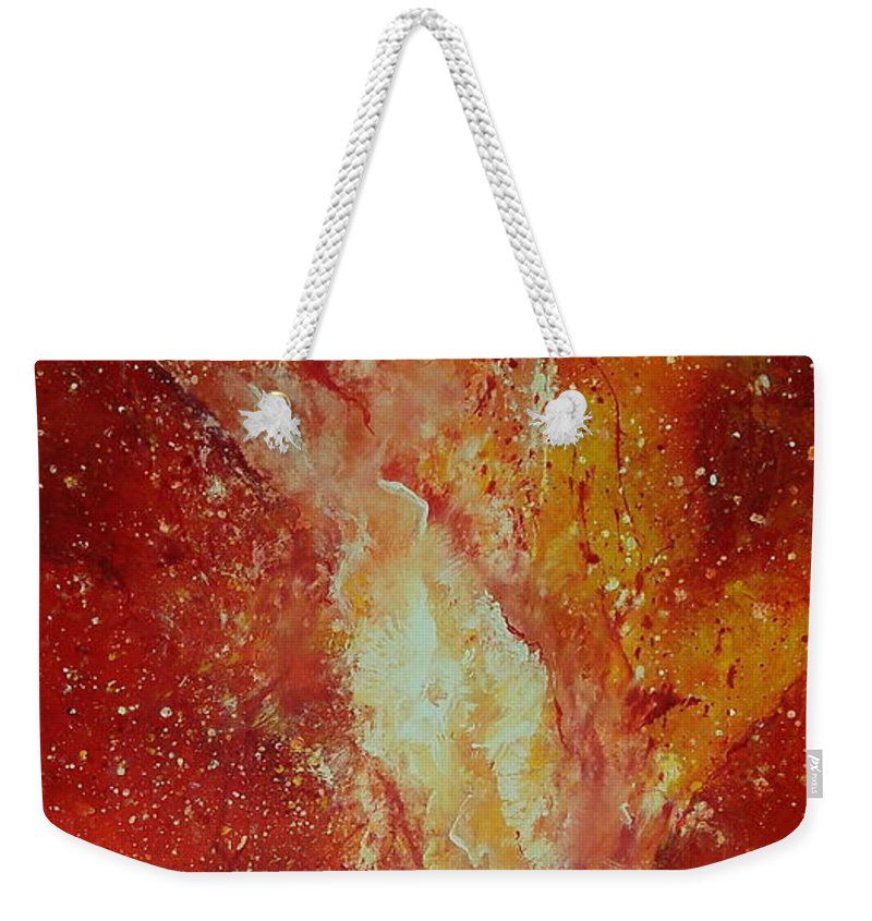 Red Weekender Tote Bag featuring the painting Inferno by Tamyra Crossley
