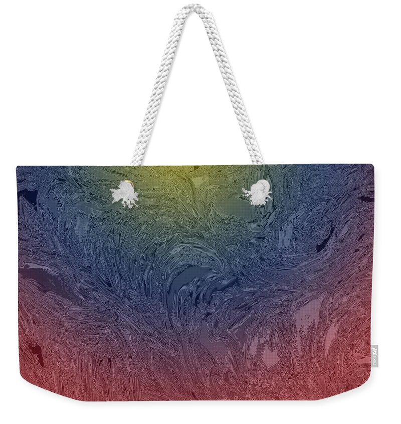 Red Yellow Weekender Tote Bag featuring the digital art Infinite Complexity Seven by Ian MacDonald