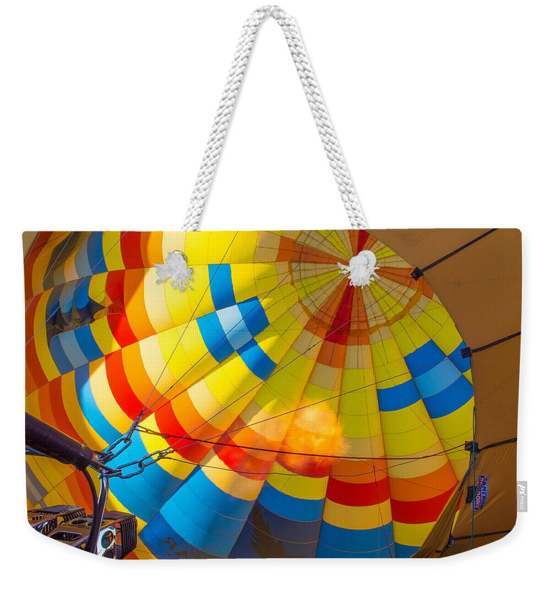 Balloon Fiesta Weekender Tote Bag featuring the photograph Inflating The Balloon by Dan Leffel