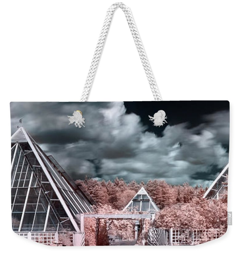 Panorama Weekender Tote Bag featuring the photograph Infrared Glass Pyramids Panorama by Sandra Rugina