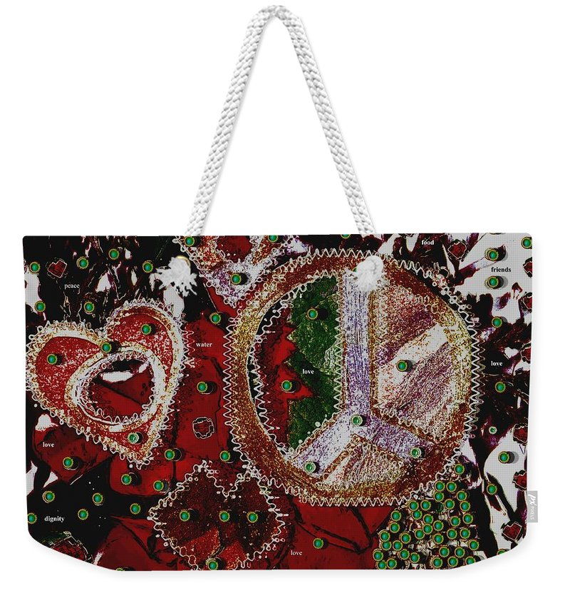 Hearts Weekender Tote Bag featuring the mixed media Ingredients For A Good Life by Pepita Selles