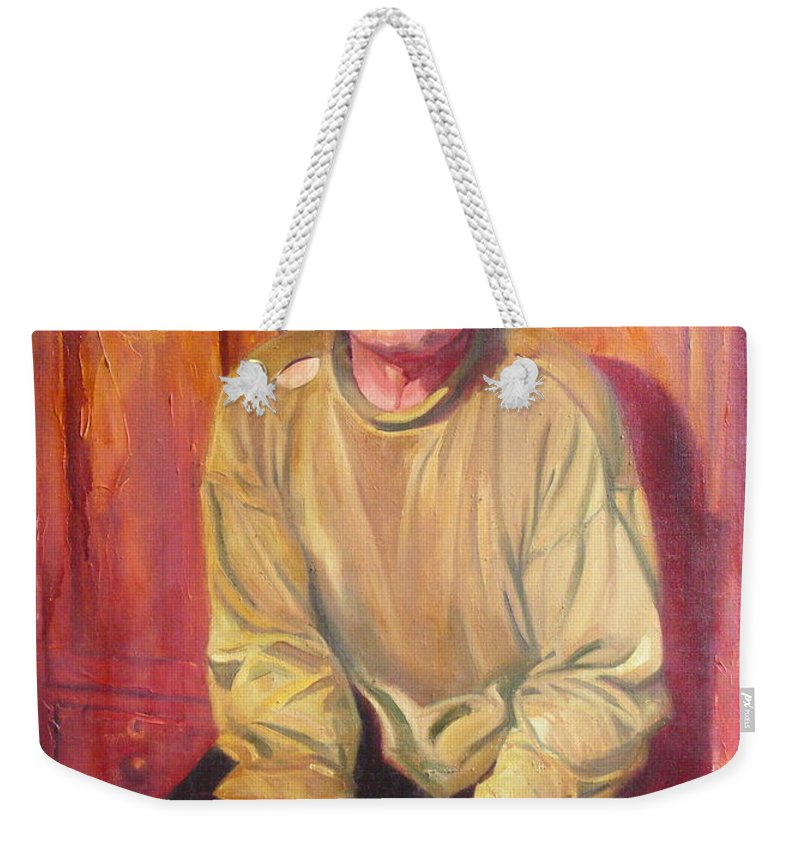 Oil Weekender Tote Bag featuring the painting Inhabitant of Chernobyl zone by Sergey Ignatenko