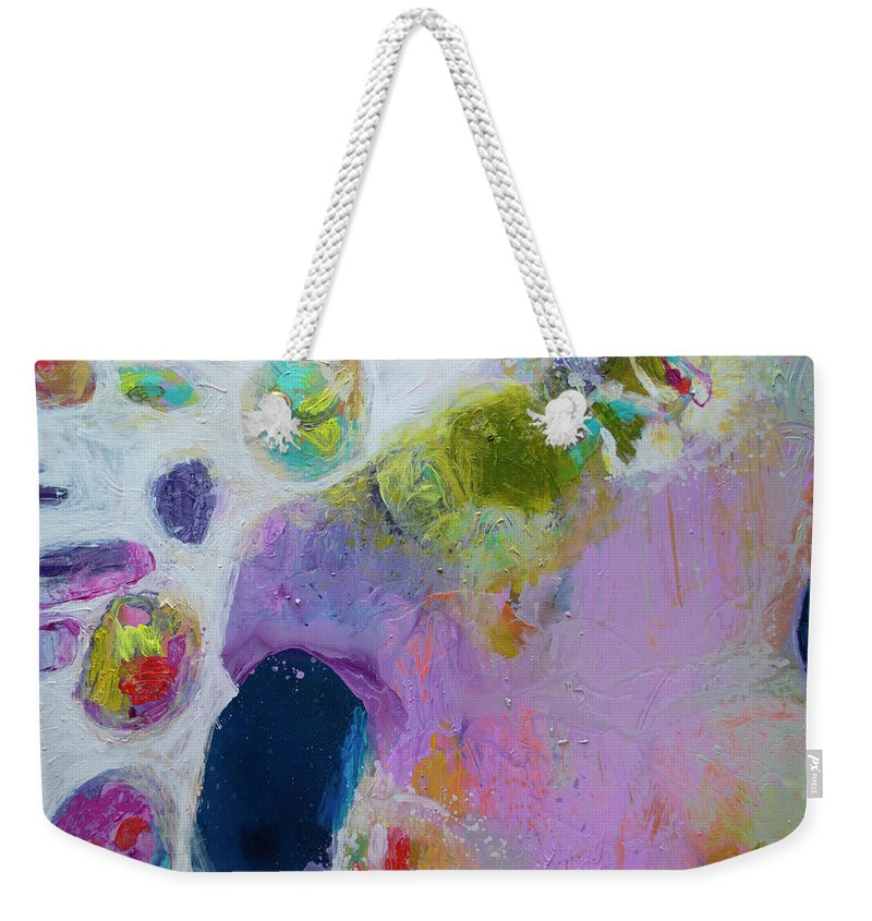 Abstract Weekender Tote Bag featuring the painting Inherent by Claire Desjardins