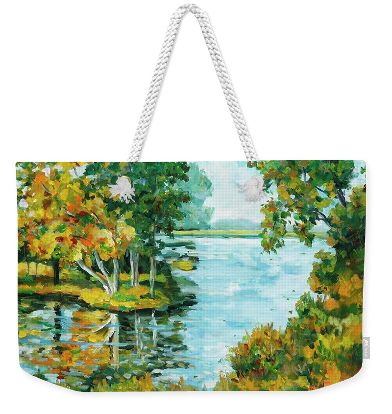 Landscape Weekender Tote Bag featuring the painting Inlet by Ingrid Dohm