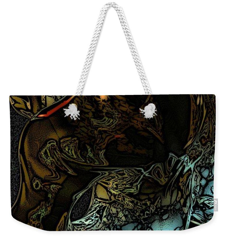 Abstract Weekender Tote Bag featuring the digital art Inner Being by David Lane