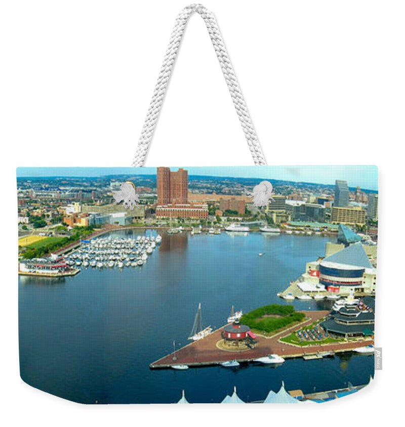Baltimore Weekender Tote Bag featuring the photograph Inner Harbor Baltimore Panorama by Thomas Marchessault