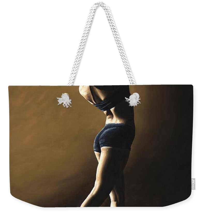 Dance Dancer Dancing Modern Female Woman Lady Girl Pointe Shadow Light Beauty Beautiful Young Art Weekender Tote Bag featuring the painting Inner Sanctuary by Richard Young