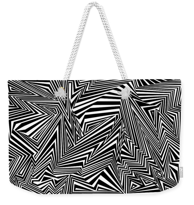 Dynamic Black And White Weekender Tote Bag featuring the painting Inner Undulations by Douglas Christian Larsen