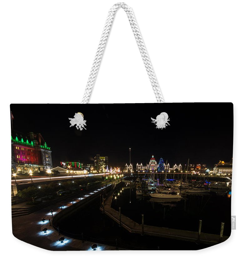 Harbour Weekender Tote Bag featuring the photograph Inner Harbour Of Victoria Bc by Marilyn Wilson