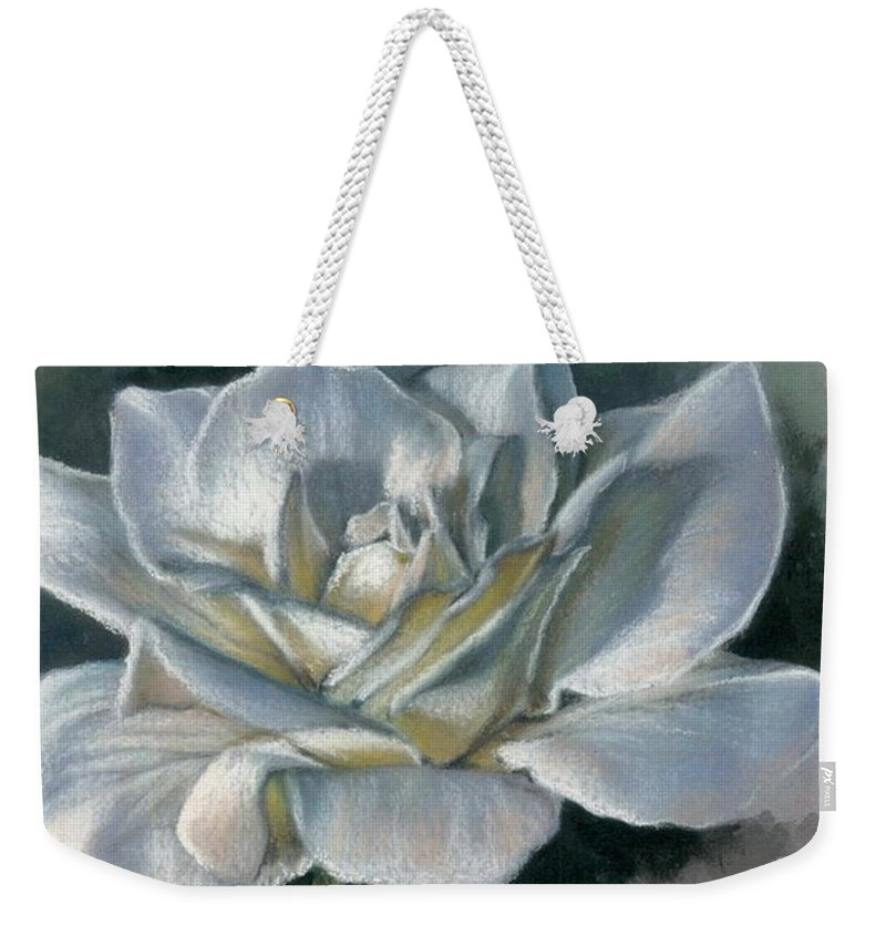 Rose Weekender Tote Bag featuring the mixed media Innocence by Barbara Keith