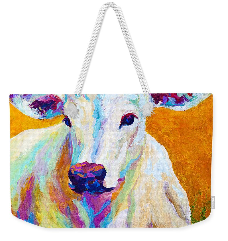 Cows Weekender Tote Bag featuring the painting Innocence by Marion Rose
